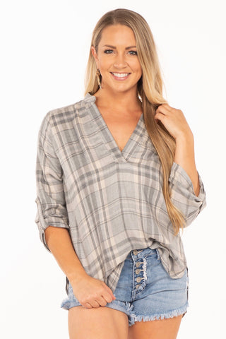 Plaid V-Neck Blouse