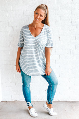 Blue Striped Tunic Tee