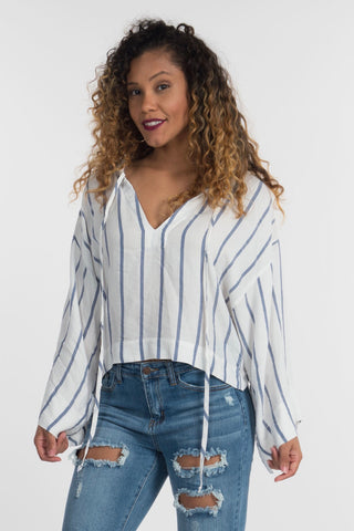 Blue & White Beach Blouse