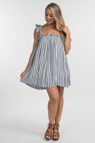 Stripe Shoulder Tie Dress