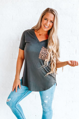Ash Leopard Pocket V-Neck Tee