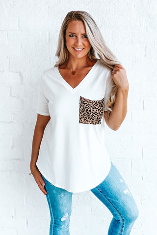 Ivory Leopard Pocket V-neck Tee