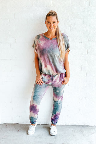 Let's Lounge Tie-Dye Drawstring Top