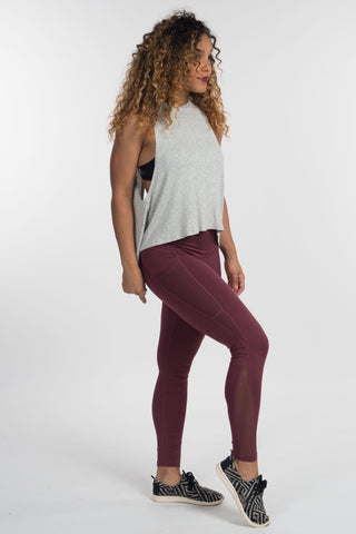 Deep Plum Mesh Leggings