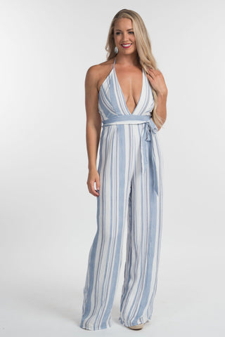 Blue Striped Halter Jumpsuit