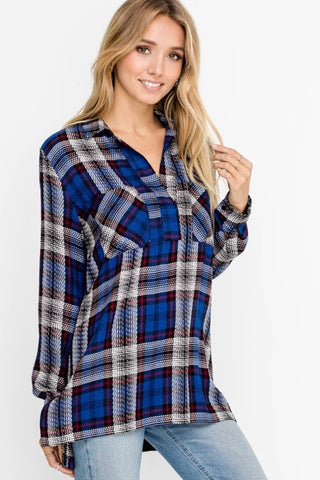 Navy & Red Plaid Shirt