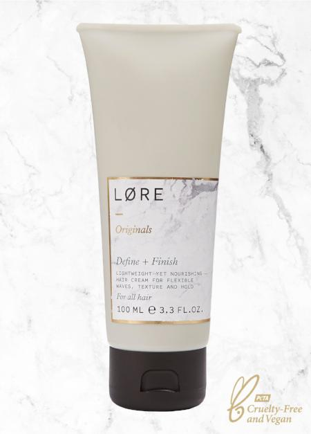 Lore Originals Define + Finish vegan hair styling cream made in the UK.