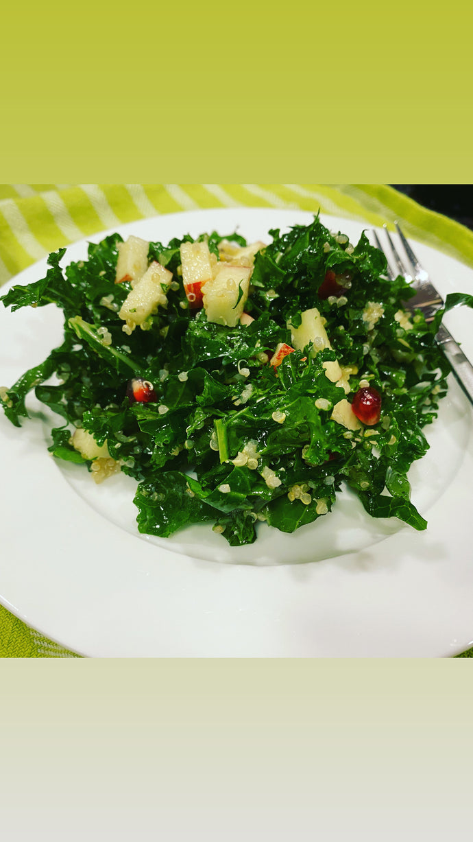Winter Kale Salad with Pomegranate and Blue Cheese