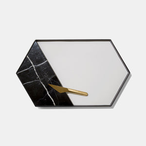 Modern Black Marble and Melamine Board and Cheese Knife