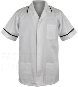 883e2eb9aec92 Male Healthcare Tunic FNMT01 White/Navy – First Uniform Solutions