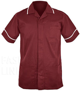 Male Healthcare Tunic FNMT01 Maroon/White