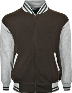 MEN & WOMEN BASEBALL VARSITY HOODED BOMBER JACKET WITH POCKETS & OPEN END ZIP SIZE S TO 2XL BROWN