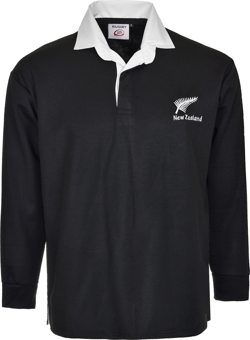 NEW ZEALAND RUGBY SHIRT LONG SLEEVE BLACK/WHITE