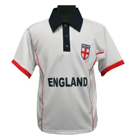 ENGLAND FOOTBALL SUPPORTER SHIRT WHITE EMBROIDERED LOGO