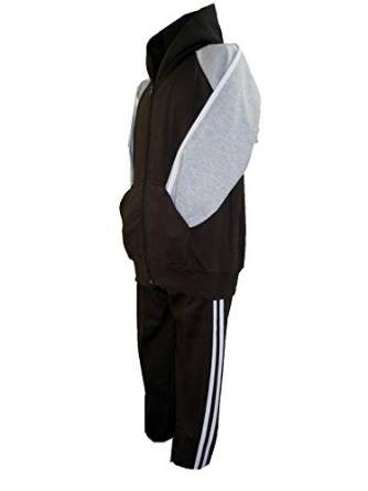 CHILDREN TRACKSUITS FLEECE HOODED TOP BLACK/GREY