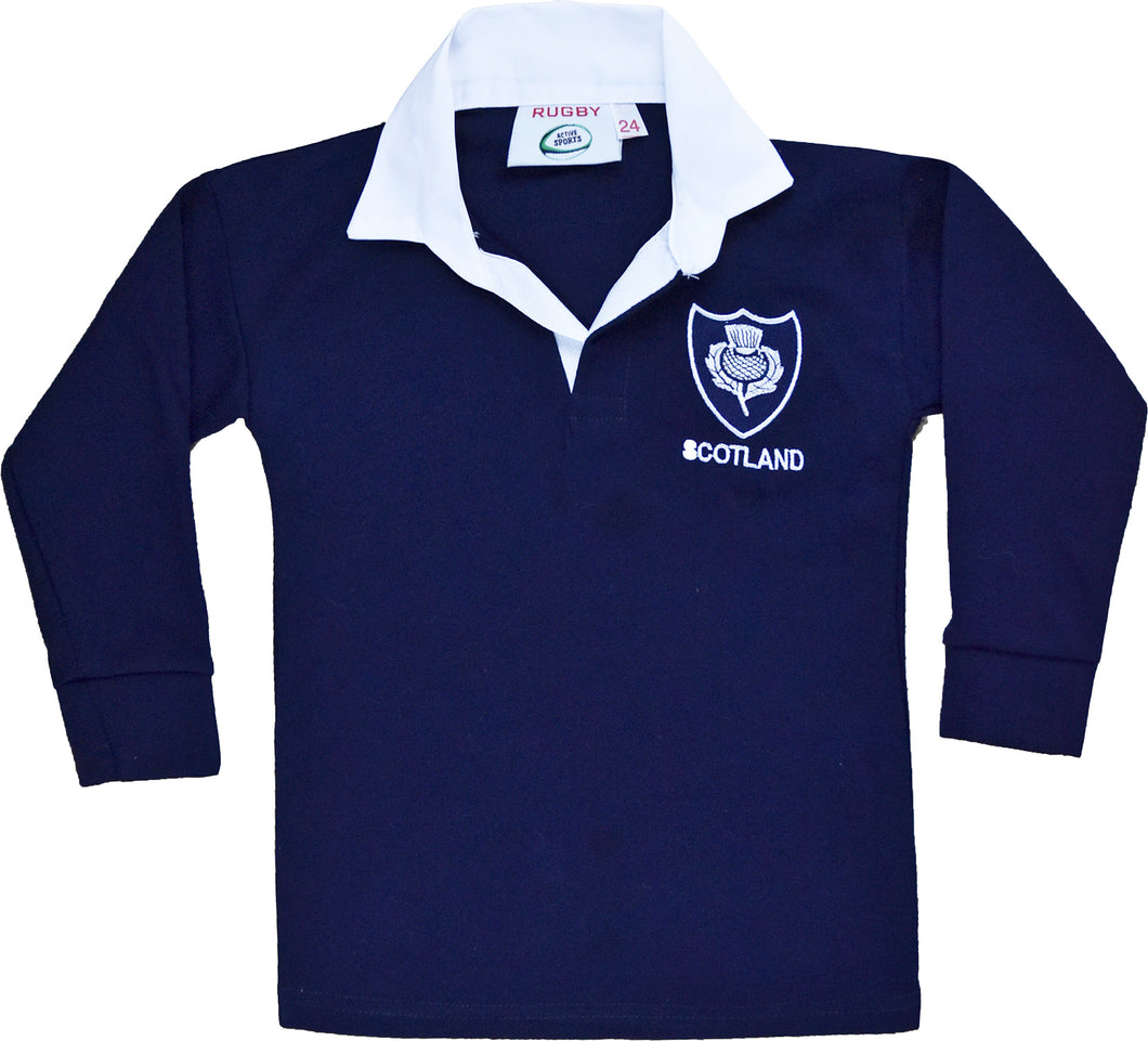 Scotland Rugby Kids Shirts Full Sleeve White/Navy