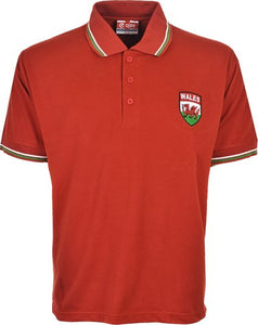 Men's Wales Euro Football Championships Pique Polo T-Shirt