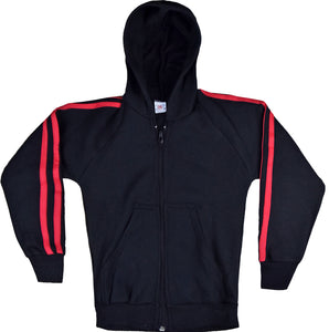 CHILDREN TRACKSUITS FLEECE HOODED TOP BLACK/RED