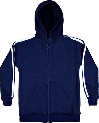 CHILDREN TRACKSUITS FLEECE HOODED TOP BLUE/WHITE