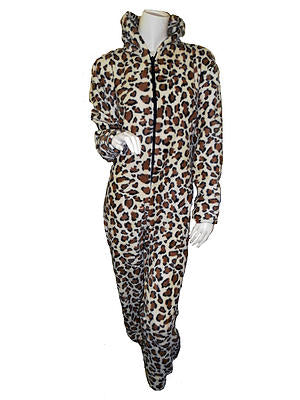 WOMENS ONESIES FULL LENGTH FLEECE LEOPARD PRINT