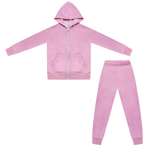 Kids Plain Zipped hoodies {PINK)