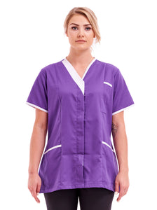 Ladies tunic Asymmetric V Neckline FUL04 Purple with White Trim