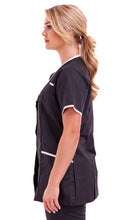 Ladies tunic Asymmetric V Neckline FUL04 Black with White Trim
