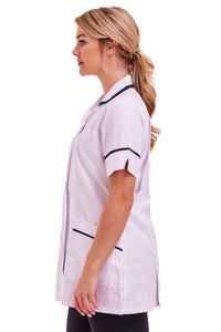 White healthcare uniform. Classic white tunic for nurses, carers. Made in England.