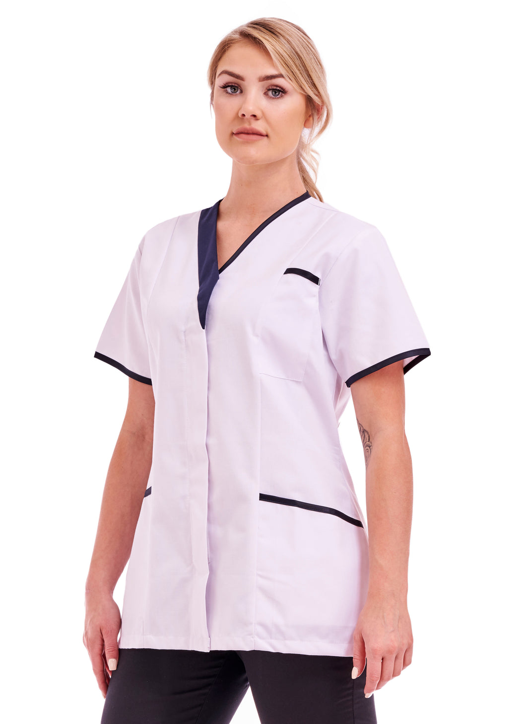 White tunic with navy contrast and assymetric V neck for women