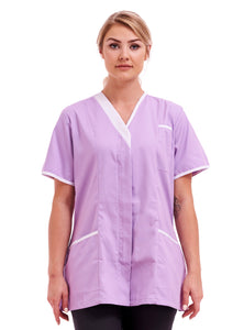 Ladies tunic Asymmetric V Neckline FUL04 Lilac with White Trim