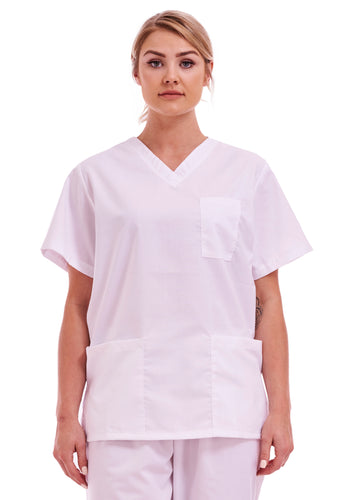 Unisex Medical Hospital Scrub Top White