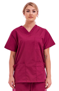Unisex Medical Hospital Scrub Top Wine