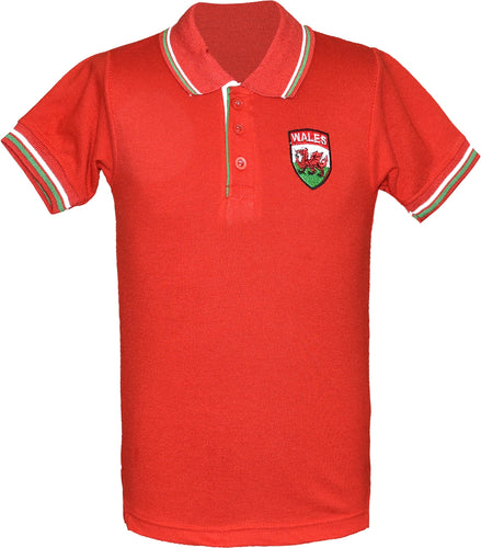 Kids Wales Football Championship Polo T-Shirt