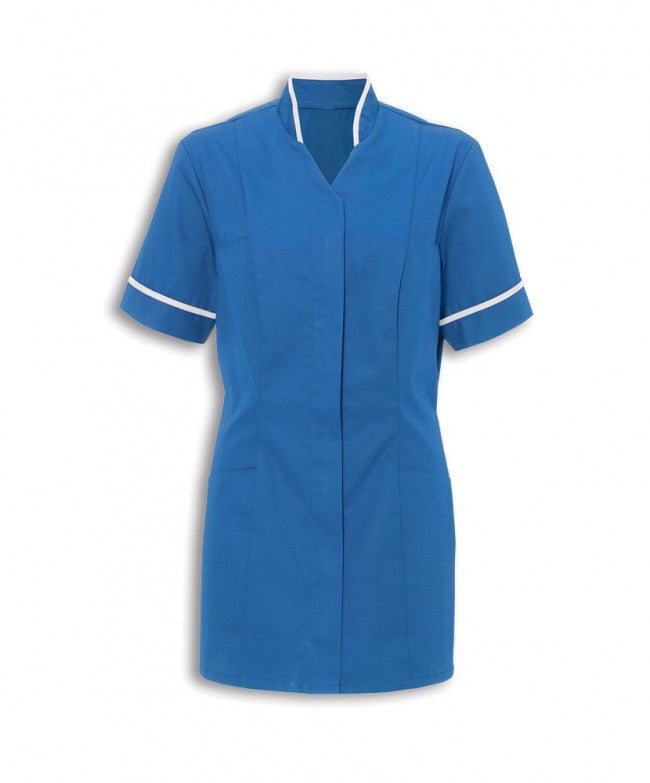 Ladies mandarin Collar Tunic FNLT03 Hospital Blue