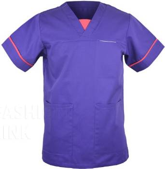 Unisex Smart Scrub Tunic Healthcare Uniform Purple Rosetta
