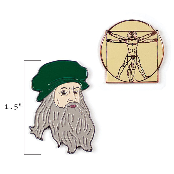Leonardo and Vitruvian Man Pins