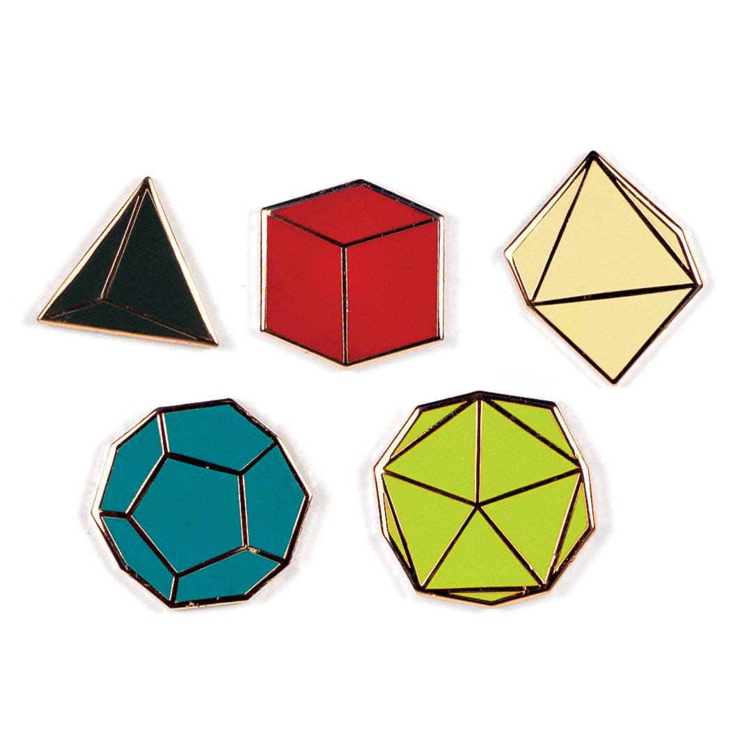 Platonic Solids Pin Set - The Unemployed Philosophers Guild
