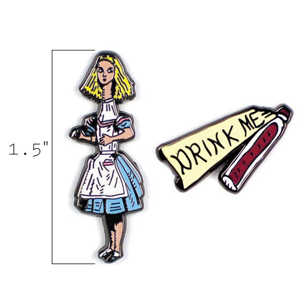 Alice & Drink Me Pins - The Unemployed Philosophers Guild