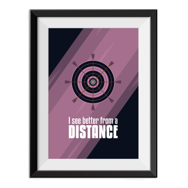 Hawkeye - I can see better from a distance - Quote Minimal Poster Print