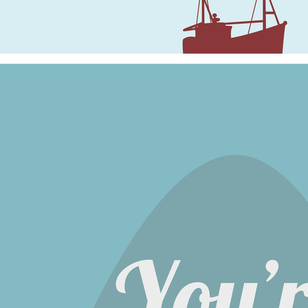 Jaws Poster - Need a Bigger Boat Quote Minimal Style Poster Print