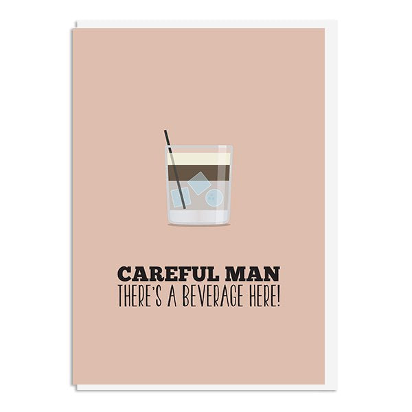 The Big Lebowski - Careful Man, There's a Beverage Here Quote Minimal Style Greetings Card