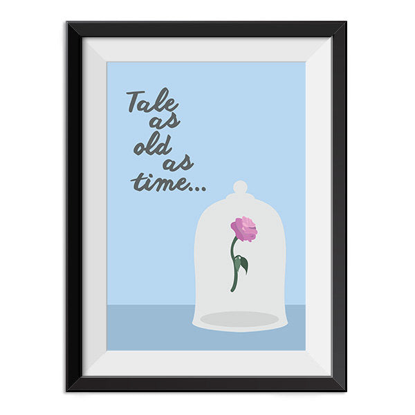 Beauty and the Beast - Tale as old as Time Quote Minimal Style Poster Print