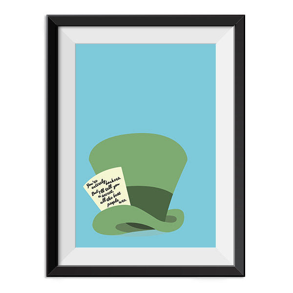 Alice in Wonderland - You're Entirely Bonkers Quote Minimal Style Poster Print