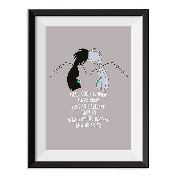 One hundred and One Dalmations  - Cruella De vil - Darling looking good is better than being good Quote Minimal Poster Print Disney Villain