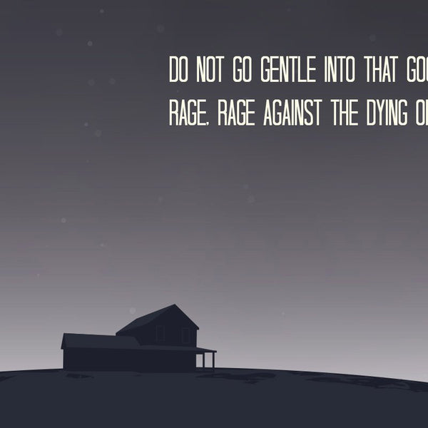 Interstellar - Do not go Gentle Quote Minimal Greetings Card