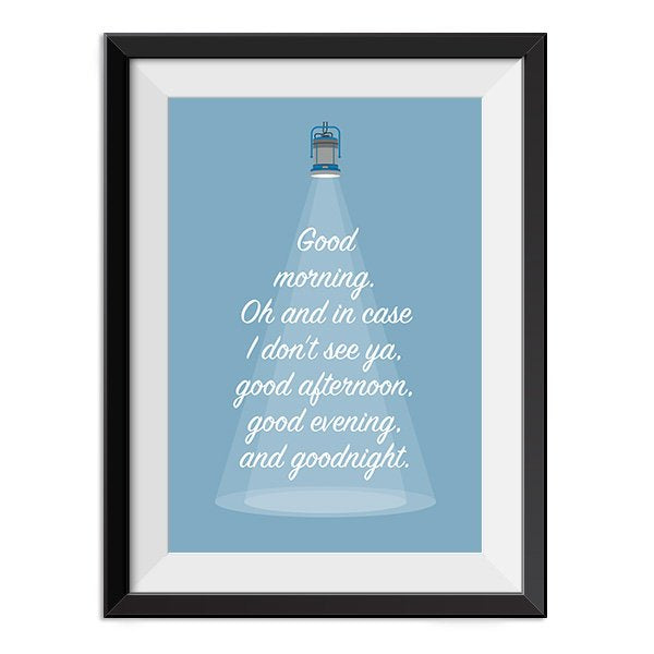Truman Show - Good afternoon, good evening and good night Quote Minimal Style Poster Print