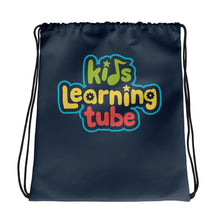 Kids Learning Tube Logo Drawstring Bag (Navy)