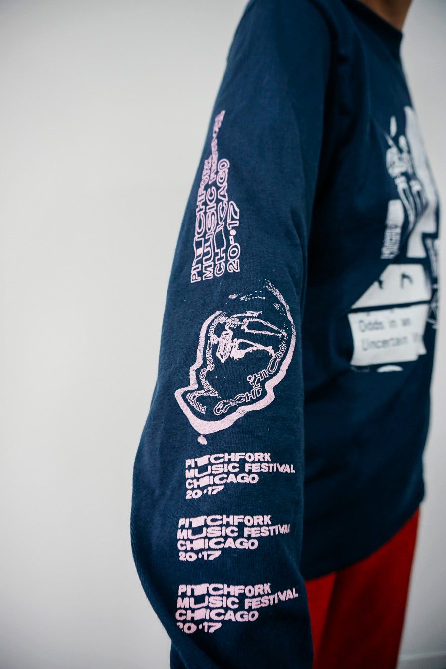 Pitchfork X Jeremy Dean Long Sleeve Tee, Navy