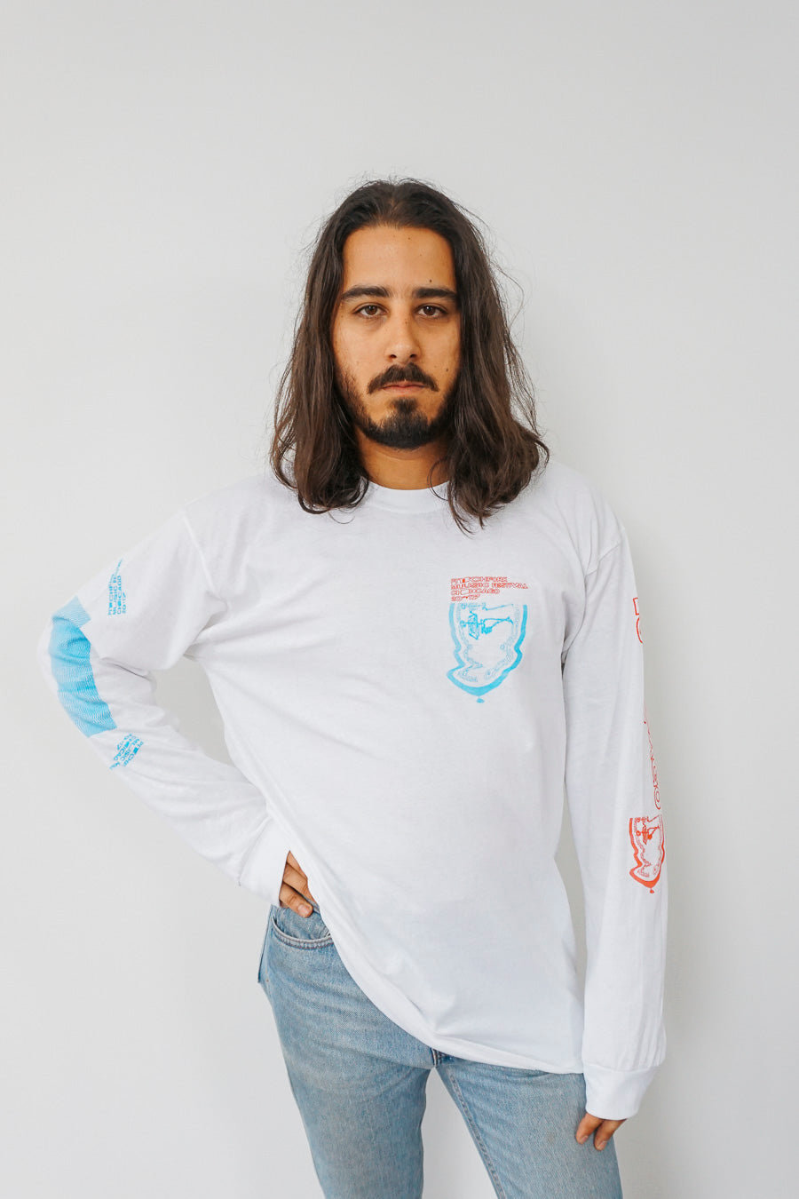 Pitchfork X Jeremy Dean Long Sleeve Tee, White