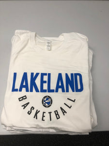 Men's Short Sleeve Shirt with Basketball Practice Jersey Logo - White